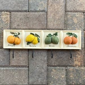Farmhouse Resin Lemon Zest Plaque Wall Hook Rack